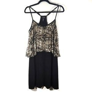 Daytrip Black & Tan Tiered Racerback Dress / L